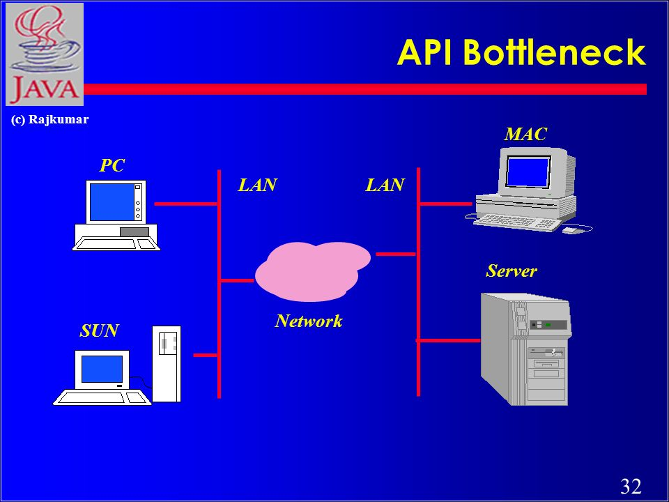 32 (c) Rajkumar API Bottleneck Network LAN PC SUN MAC Server