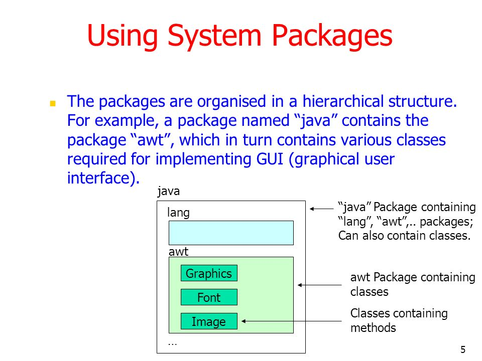 5 Using System Packages The packages are organised in a hierarchical structure.