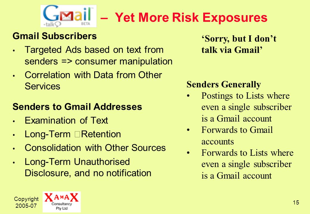 Copyright – Yet More Risk Exposures Gmail Subscribers Targeted Ads based on text from senders => consumer manipulation Correlation with Data from Other Services Senders to Gmail Addresses Examination of Text Long-Term Retention Consolidation with Other Sources Long-Term Unauthorised Disclosure, and no notification Sorry, but I dont talk via Gmail Senders Generally Postings to Lists where even a single subscriber is a Gmail account Forwards to Gmail accounts Forwards to Lists where even a single subscriber is a Gmail account