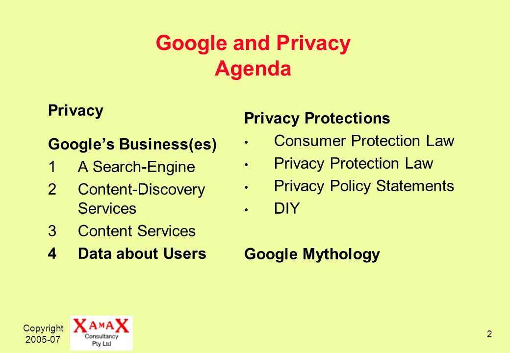 Copyright Google and Privacy Agenda Privacy Googles Business(es) 1A Search-Engine 2Content-Discovery Services 3Content Services 4Data about Users Privacy Protections Consumer Protection Law Privacy Protection Law Privacy Policy Statements DIY Google Mythology