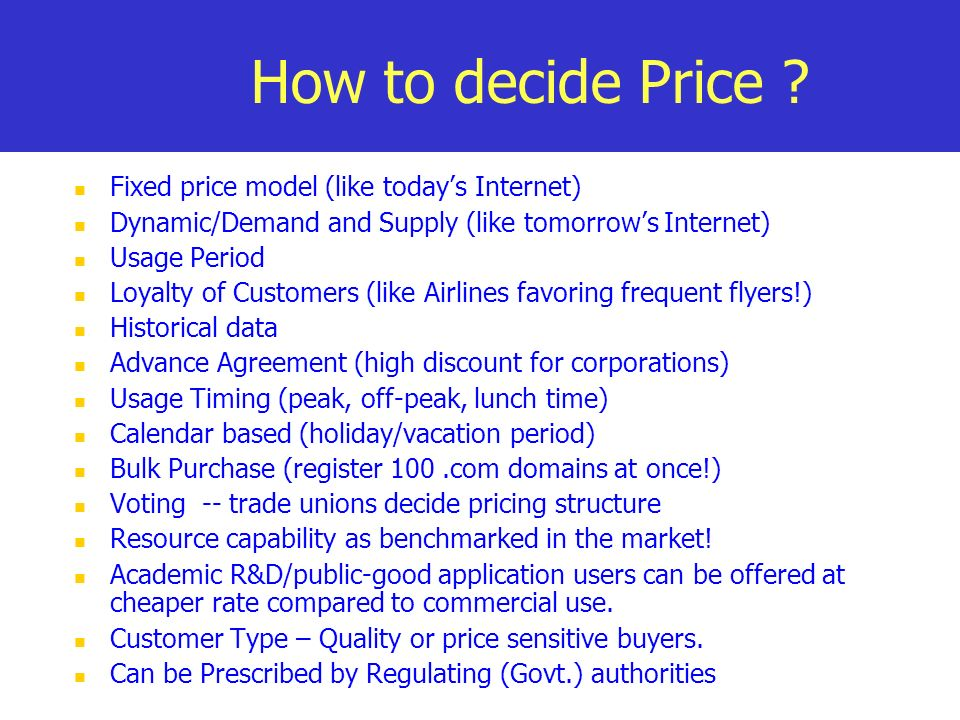 How to decide Price .