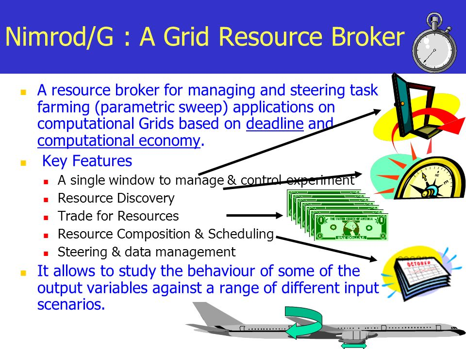 A resource broker for managing and steering task farming (parametric sweep) applications on computational Grids based on deadline and computational economy.