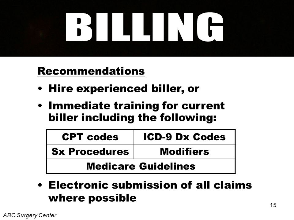 15 Recommendations Hire experienced biller, or Immediate training for current biller including the following: Electronic submission of all claims where possible ABC Surgery Center CPT codesICD-9 Dx Codes Sx ProceduresModifiers Medicare Guidelines
