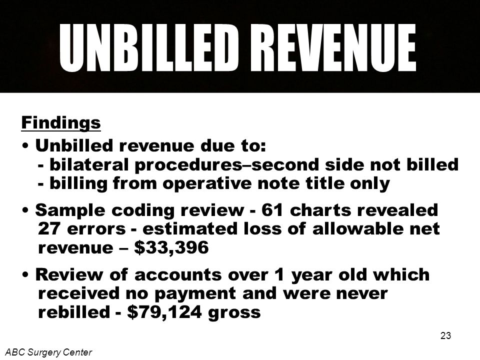 23 Findings Unbilled revenue due to: - bilateral procedures–second side not billed - billing from operative note title only Sample coding review - 61 charts revealed 27 errors - estimated loss of allowable net revenue – $33,396 Review of accounts over 1 year old which received no payment and were never rebilled - $79,124 gross ABC Surgery Center