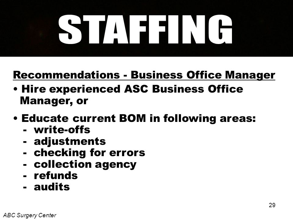 29 Recommendations - Business Office Manager Hire experienced ASC Business Office Manager, or Educate current BOM in following areas: - write-offs - adjustments - checking for errors - collection agency - refunds - audits ABC Surgery Center