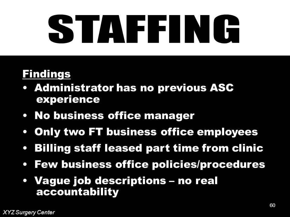 60 XYZ Surgery Center Findings Administrator has no previous ASC experience No business office manager Only two FT business office employees Billing staff leased part time from clinic Few business office policies/procedures Vague job descriptions – no real accountability 60