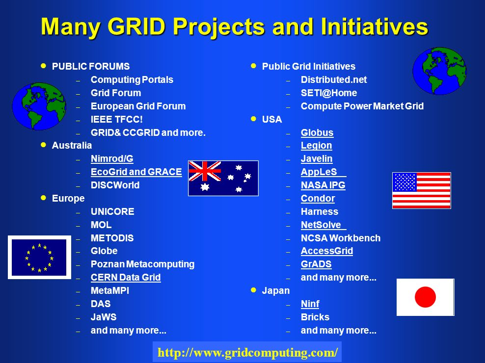 Many GRID Projects and Initiatives PUBLIC FORUMS – – Computing Portals – – Grid Forum – – European Grid Forum – – IEEE TFCC.