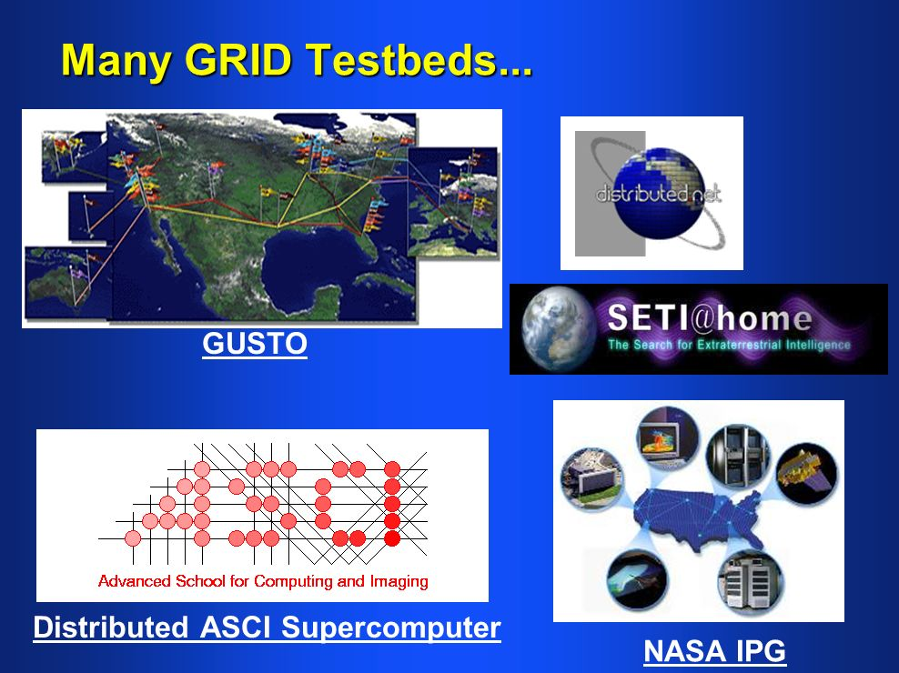 Many GRID Testbeds... GUSTO Distributed ASCI Supercomputer NASA IPG