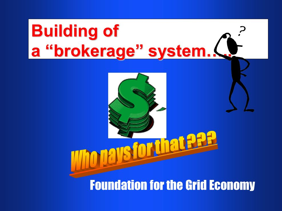 Building of a brokerage system….. Foundation for the Grid Economy