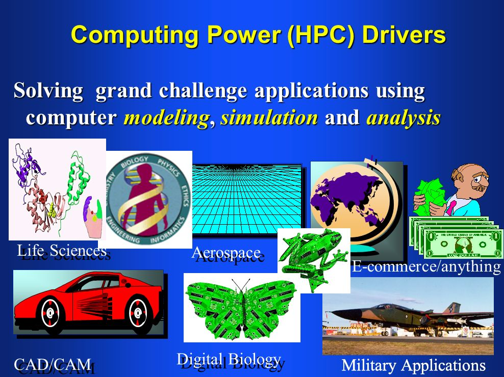 Computing Power (HPC) Drivers Solving grand challenge applications using computer modeling, simulation and analysis Life Sciences CAD/CAM Aerospace Military Applications Digital Biology Military Applications E-commerce/anything