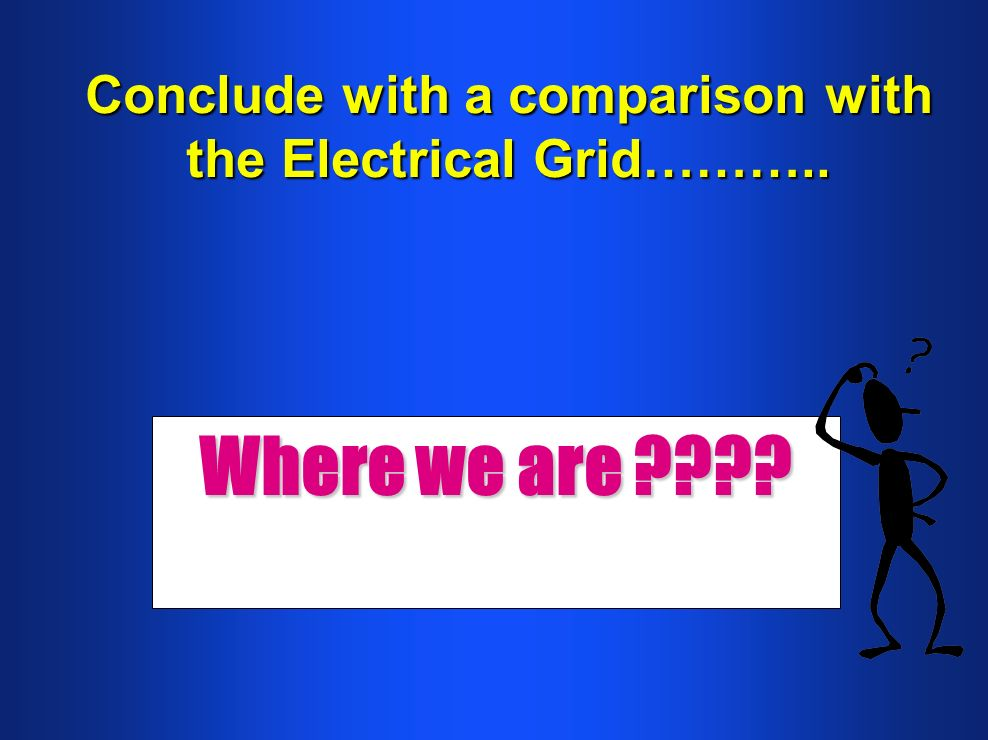 Conclude with a comparison with the Electrical Grid……….. Where we are