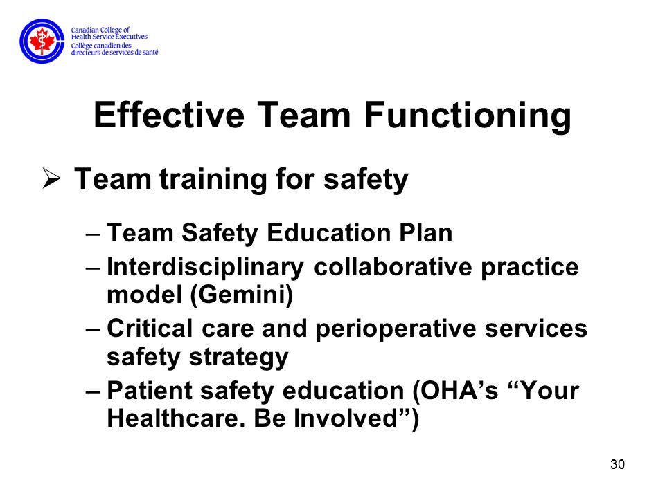 30 Effective Team Functioning Team training for safety –Team Safety Education Plan –Interdisciplinary collaborative practice model (Gemini) –Critical care and perioperative services safety strategy –Patient safety education (OHAs Your Healthcare.