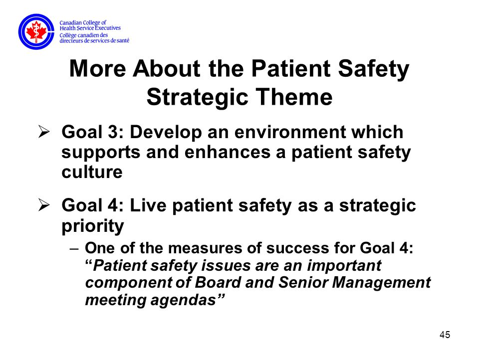 45 More About the Patient Safety Strategic Theme Goal 3: Develop an environment which supports and enhances a patient safety culture Goal 4: Live patient safety as a strategic priority –One of the measures of success for Goal 4:Patient safety issues are an important component of Board and Senior Management meeting agendas