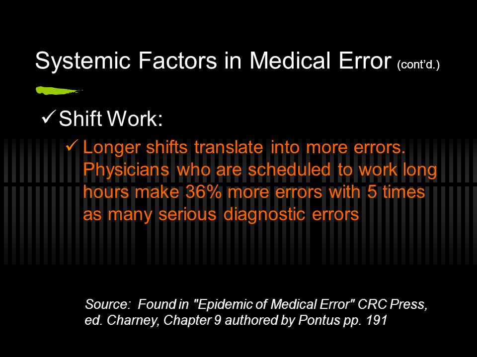 Systemic Factors in Medical Error (contd.) Shift Work: Longer shifts translate into more errors.