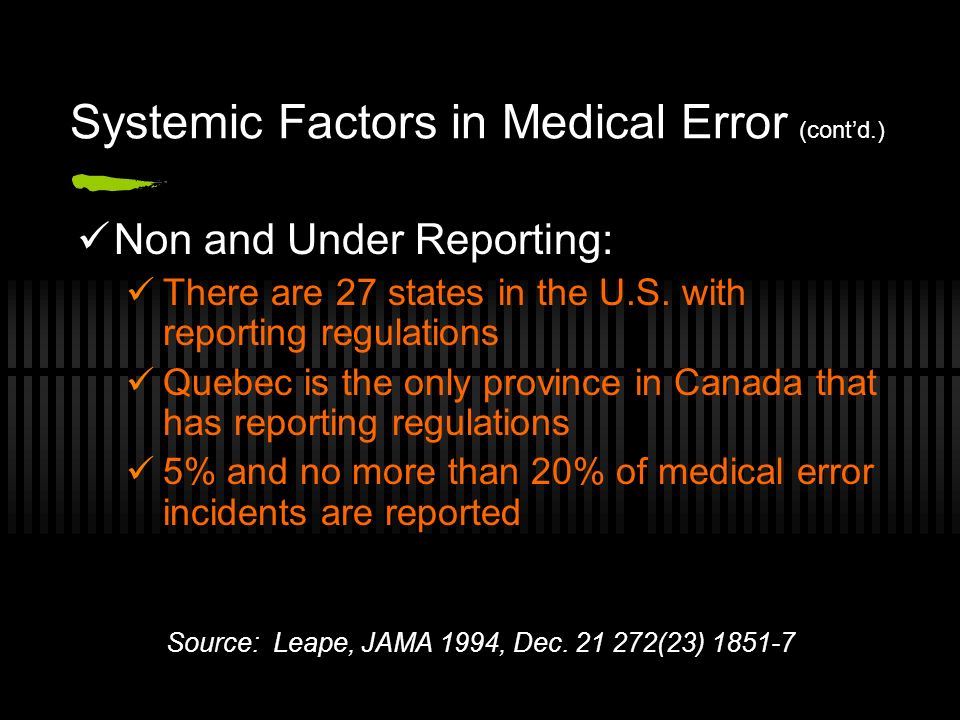 Systemic Factors in Medical Error (contd.) Non and Under Reporting: There are 27 states in the U.S.