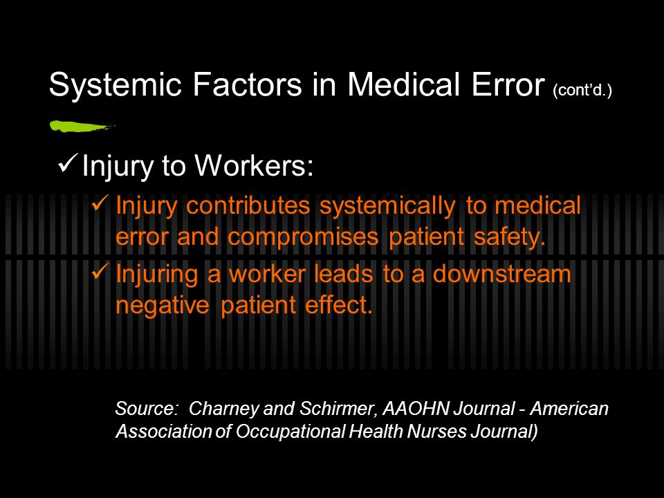 Systemic Factors in Medical Error (contd.) Injury to Workers: Injury contributes systemically to medical error and compromises patient safety.