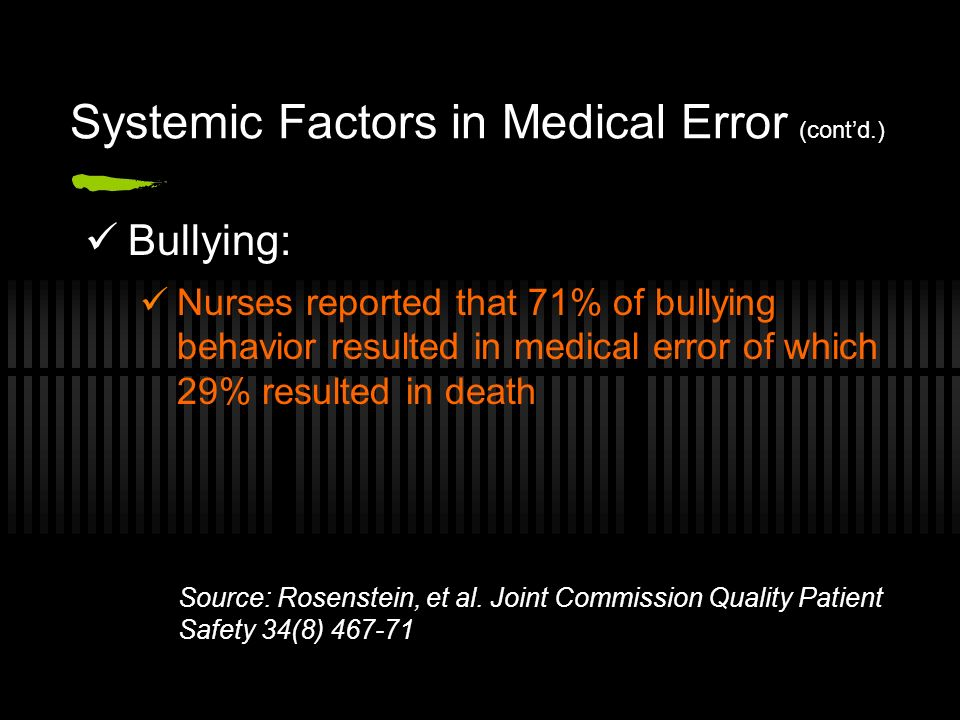Bullying: Nurses reported that 71% of bullying behavior resulted in medical error of which 29% resulted in death Systemic Factors in Medical Error (contd.) Source: Rosenstein, et al.