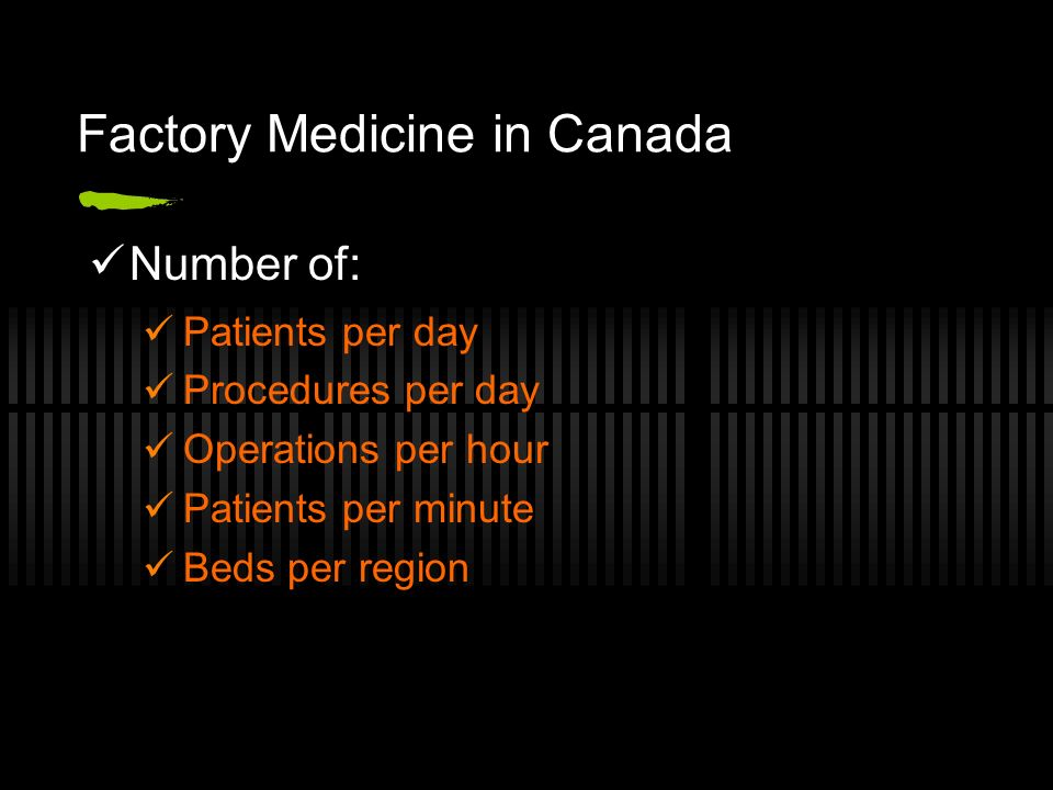 Factory Medicine in Canada Number of: Patients per day Procedures per day Operations per hour Patients per minute Beds per region