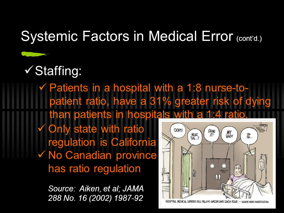 Systemic Factors in Medical Error (contd.) Staffing: Patients in a hospital with a 1:8 nurse-to- patient ratio, have a 31% greater risk of dying than patients in hospitals with a 1:4 ratio.
