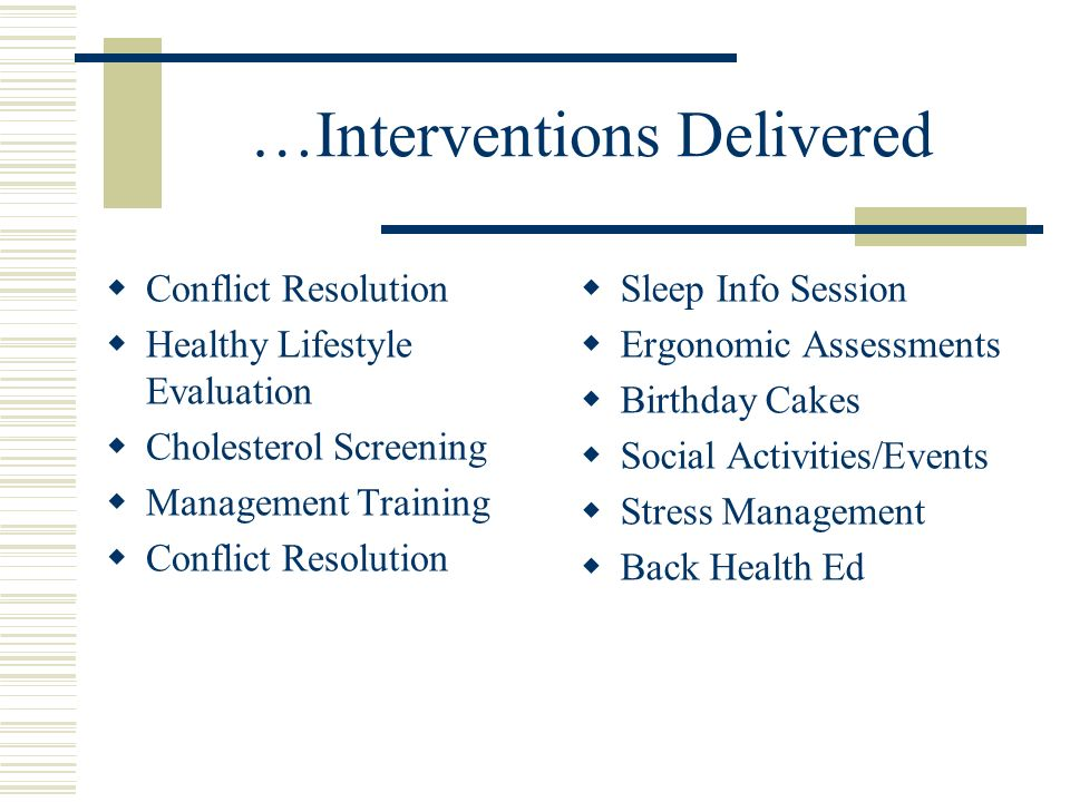 …Interventions Delivered Conflict Resolution Healthy Lifestyle Evaluation Cholesterol Screening Management Training Conflict Resolution Sleep Info Session Ergonomic Assessments Birthday Cakes Social Activities/Events Stress Management Back Health Ed