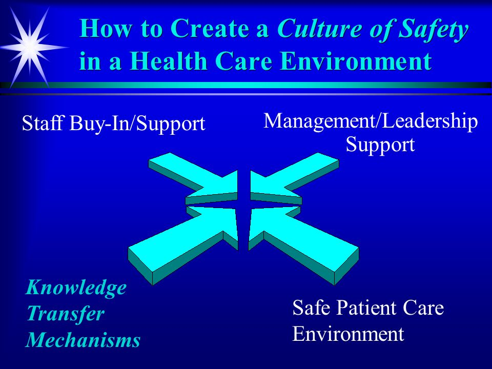 How to Create a Culture of Safety in a Health Care Environment Management/Leadership Support Knowledge Transfer Mechanisms Safe Patient Care Environment Staff Buy-In/Support