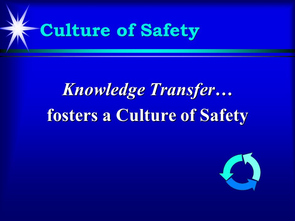 Culture of Safety Knowledge Transfer… fosters a Culture of Safety