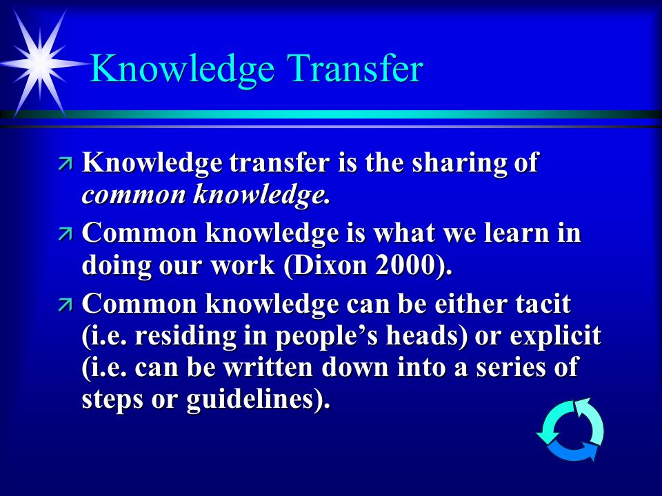 Knowledge Transfer ä Knowledge transfer is the sharing of common knowledge.