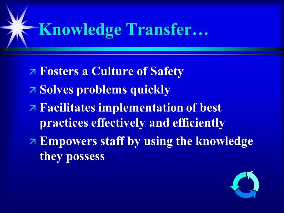 Knowledge Transfer… ä ä Fosters a Culture of Safety ä ä Solves problems quickly ä ä Facilitates implementation of best practices effectively and efficiently ä ä Empowers staff by using the knowledge they possess