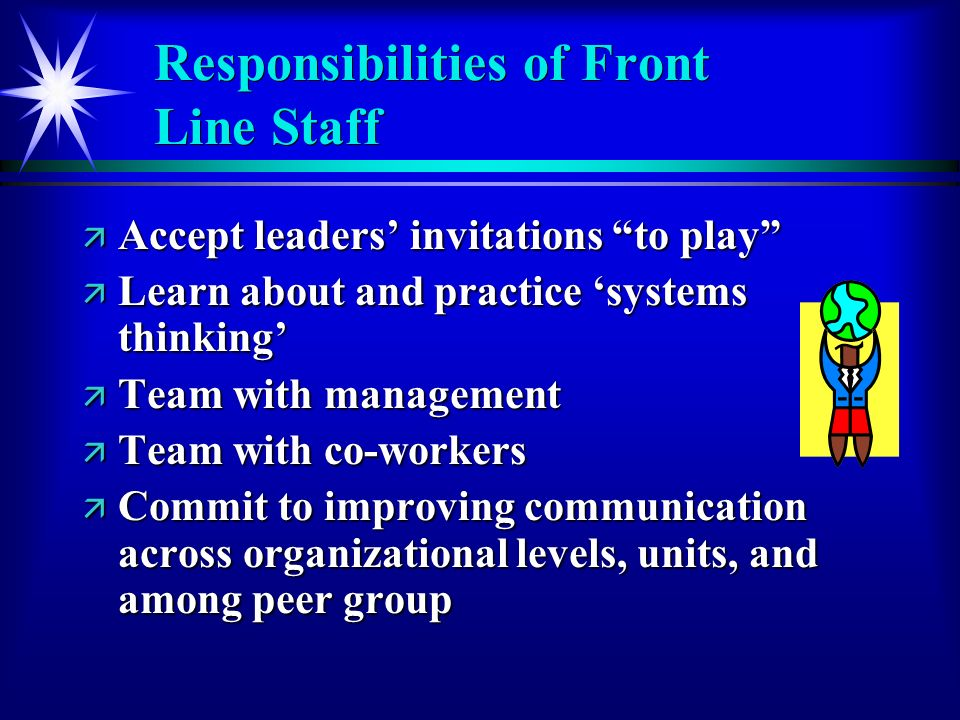 Responsibilities of Front Line Staff ä Accept leaders invitations to play ä Learn about and practice systems thinking ä Team with management ä Team with co-workers ä Commit to improving communication across organizational levels, units, and among peer group