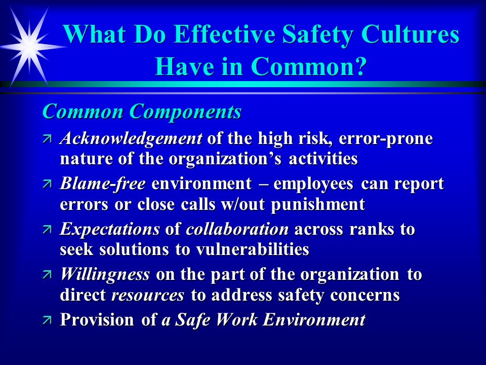 What Do Effective Safety Cultures Have in Common.