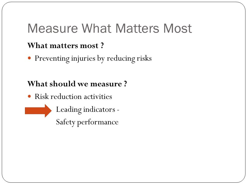 Measure What Matters Most What matters most .