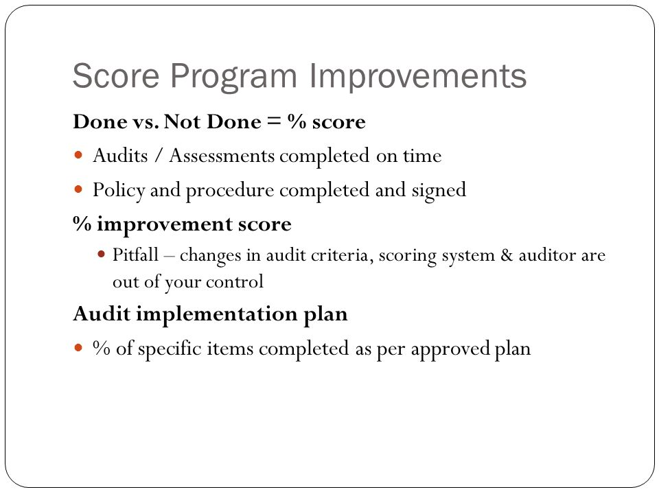 Score Program Improvements Done vs.
