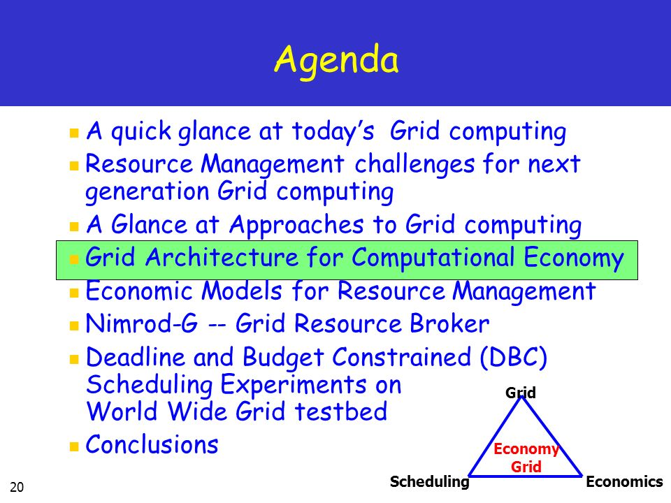 20 Agenda A quick glance at today s Grid computing Resource Management challenges for next generation Grid computing A Glance at Approaches to Grid computing Grid Architecture for Computational Economy Economic Models for Resource Management Nimrod-G -- Grid Resource Broker Deadline and Budget Constrained (DBC) Scheduling Experiments on World Wide Grid testbed Conclusions SchedulingEconomics Grid Economy Grid