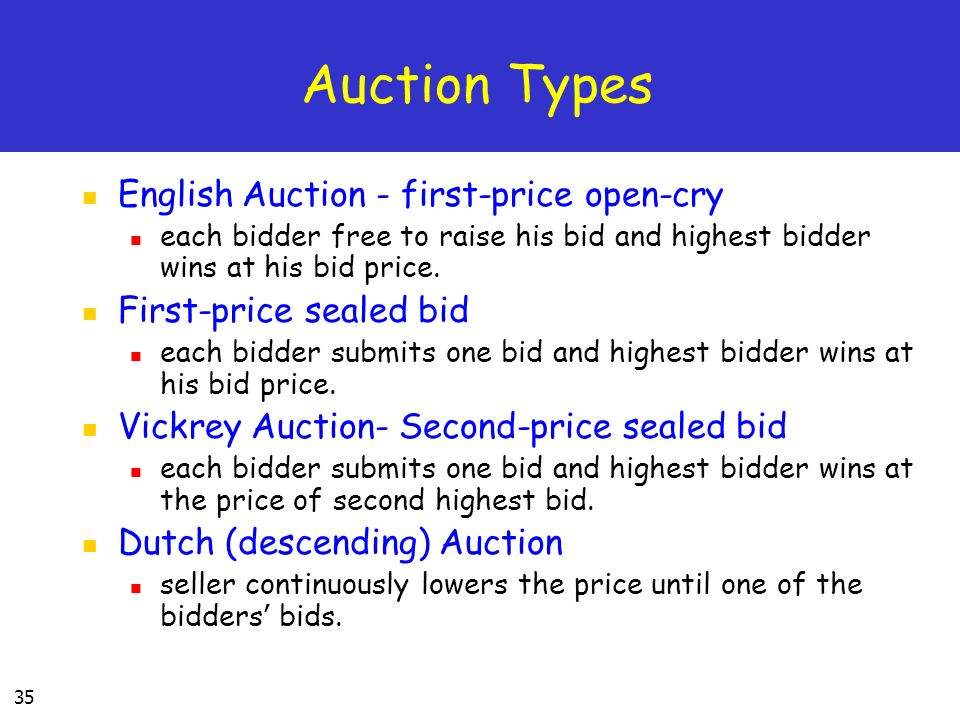 35 Auction Types English Auction - first-price open-cry each bidder free to raise his bid and highest bidder wins at his bid price.