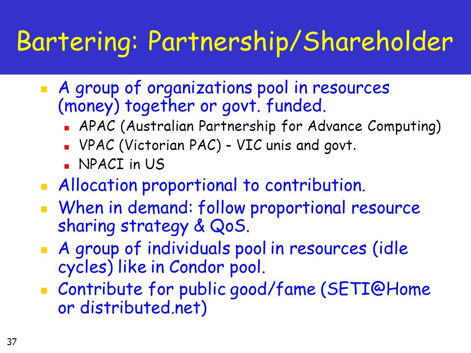 37 Bartering: Partnership/Shareholder A group of organizations pool in resources (money) together or govt.