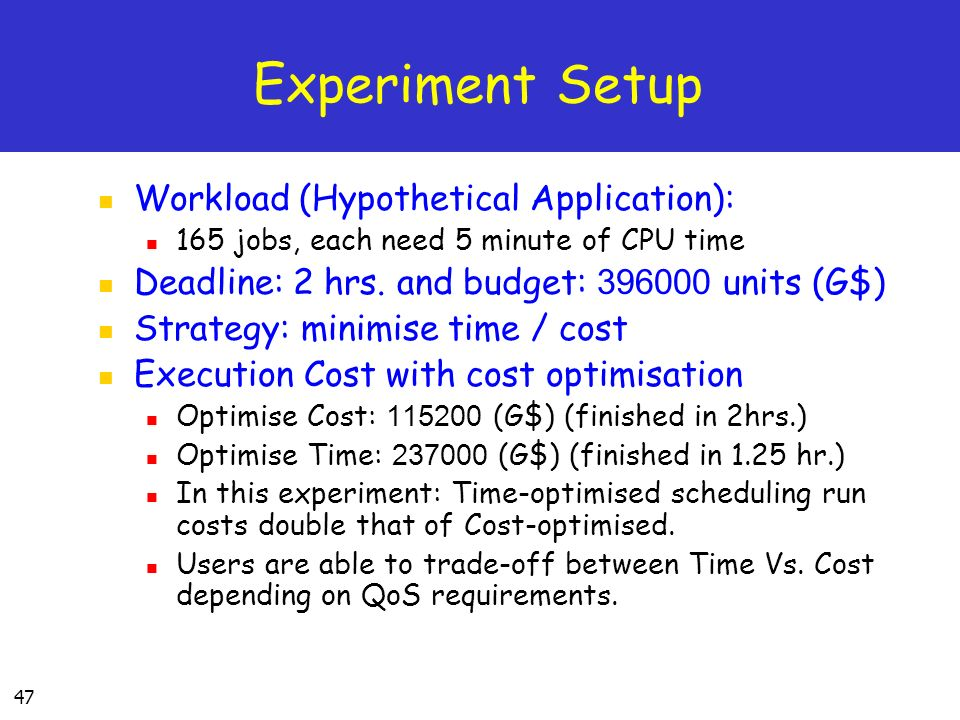 47 Experiment Setup Workload (Hypothetical Application): 165 jobs, each need 5 minute of CPU time Deadline: 2 hrs.