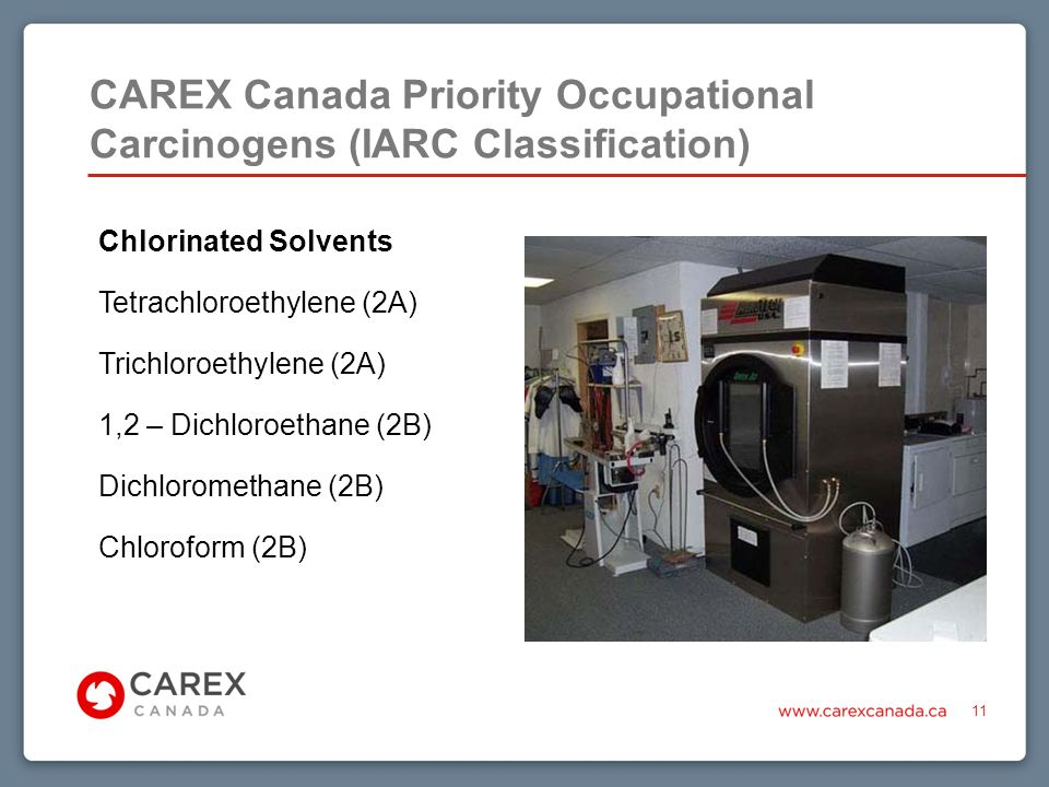 CAREX Canada Priority Occupational Carcinogens (IARC Classification) 11 Chlorinated Solvents Tetrachloroethylene (2A) Trichloroethylene (2A) 1,2 – Dichloroethane (2B) Dichloromethane (2B) Chloroform (2B)