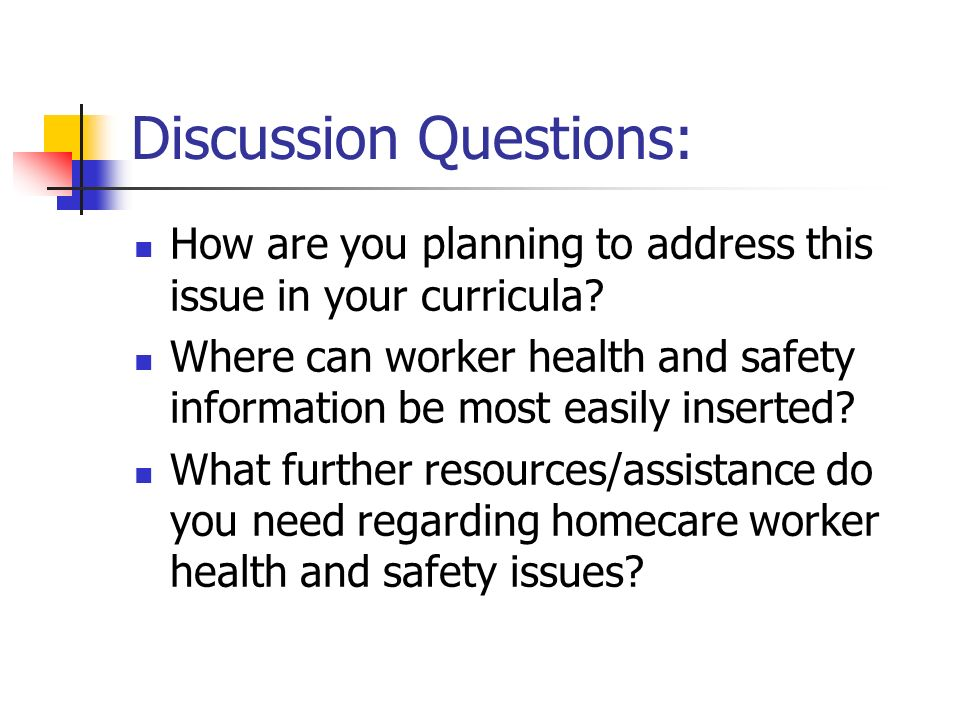 Discussion Questions: How are you planning to address this issue in your curricula.