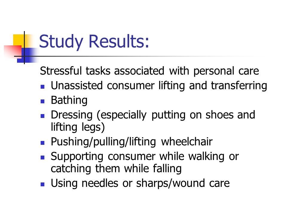 Study Results: Stressful tasks associated with personal care Unassisted consumer lifting and transferring Bathing Dressing (especially putting on shoes and lifting legs) Pushing/pulling/lifting wheelchair Supporting consumer while walking or catching them while falling Using needles or sharps/wound care
