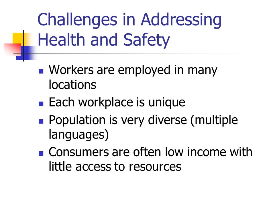 Challenges in Addressing Health and Safety Workers are employed in many locations Each workplace is unique Population is very diverse (multiple languages) Consumers are often low income with little access to resources