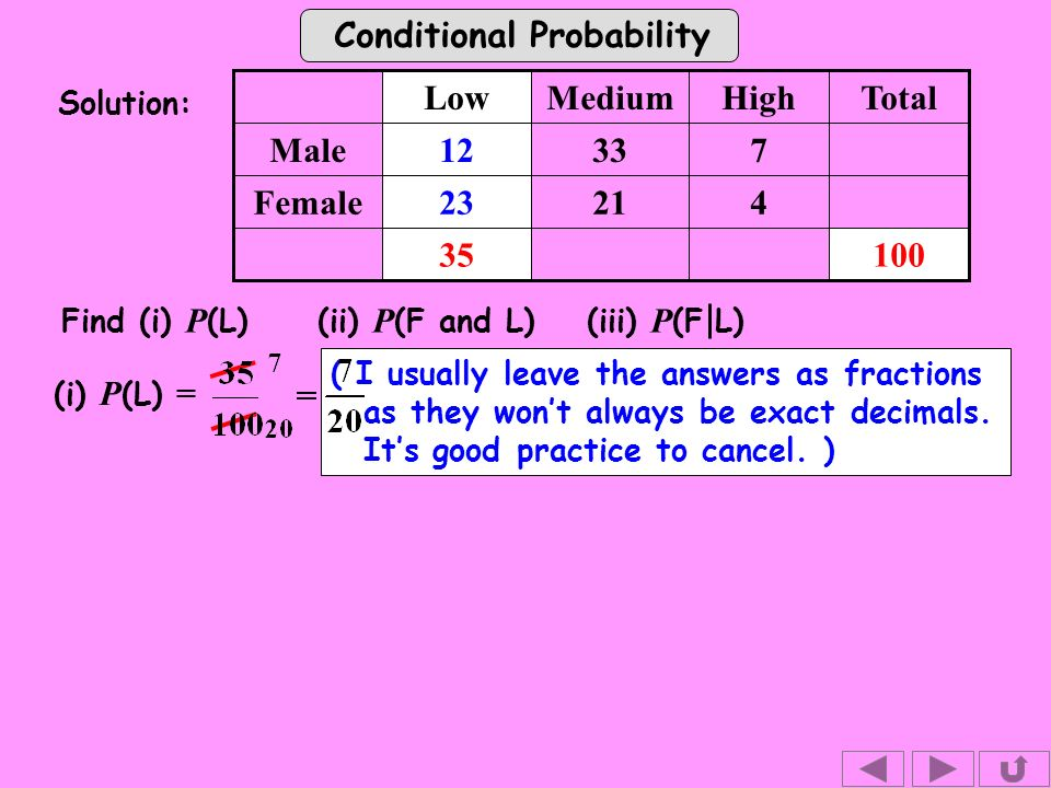 Conditional Probability (i) P (L) = Solution: Find (i) P (L) (ii) P (F and L)(iii) P (F L) Female 733Male TotalHighMediumLow ( I usually leave the answers as fractions as they wont always be exact decimals.