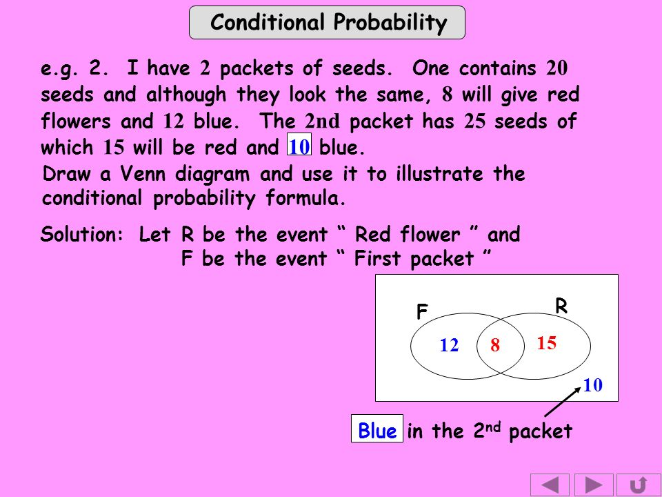 Conditional Probability e.g. 2. I have 2 packets of seeds.