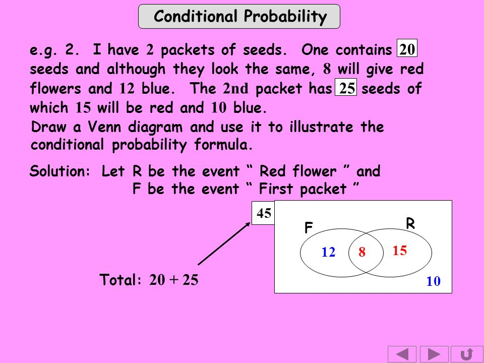 Conditional Probability 45 e.g. 2. I have 2 packets of seeds.