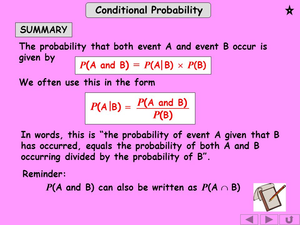 Conditional Probability SUMMARY The probability that both event A and event B occur is given by P (A and B) can also be written as P (A B) We often use this in the form Reminder: In words, this is the probability of event A given that B has occurred, equals the probability of both A and B occurring divided by the probability of B.