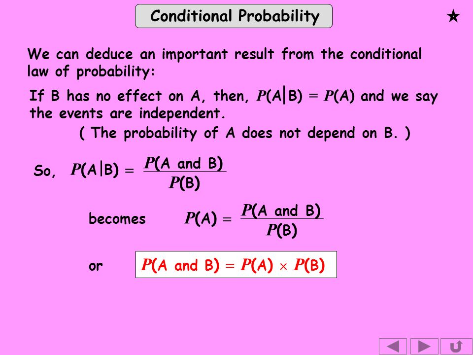 Conditional Probability We can deduce an important result from the conditional law of probability: ( The probability of A does not depend on B.