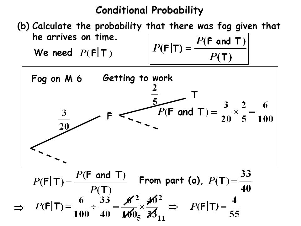 Conditional Probability Fog on M 6 Getting to work F T From part (a), (b)Calculate the probability that there was fog given that he arrives on time.