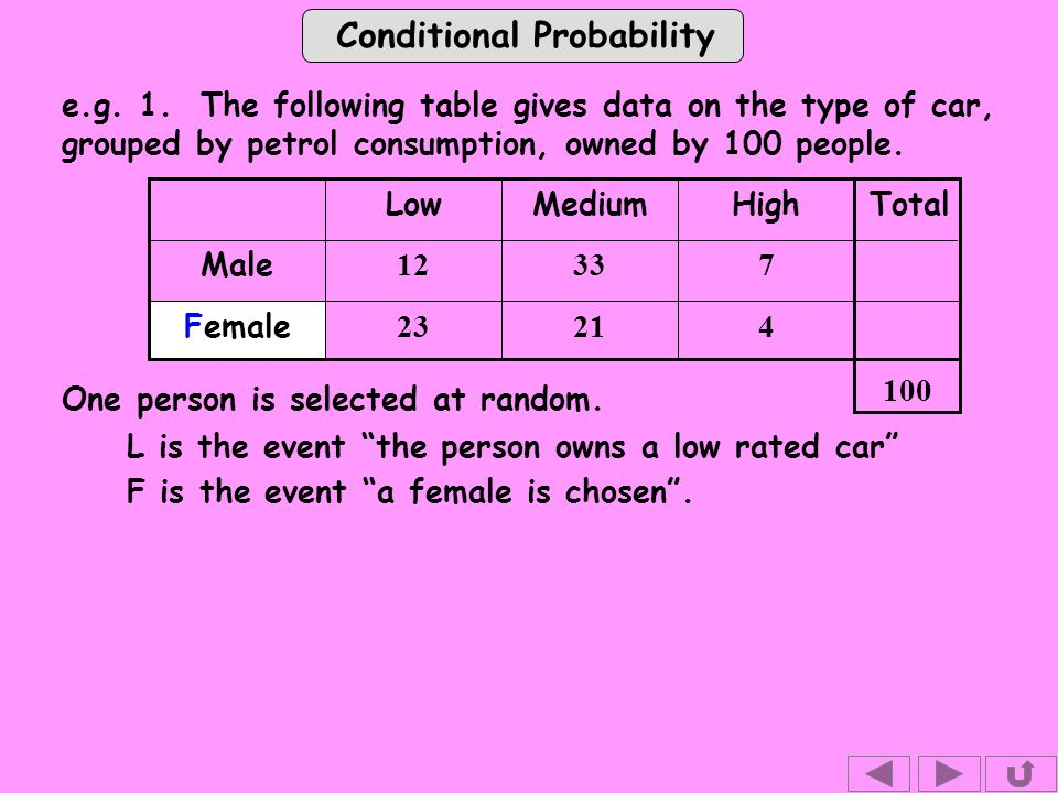 Conditional Probability Female Low Male e.g. 1.