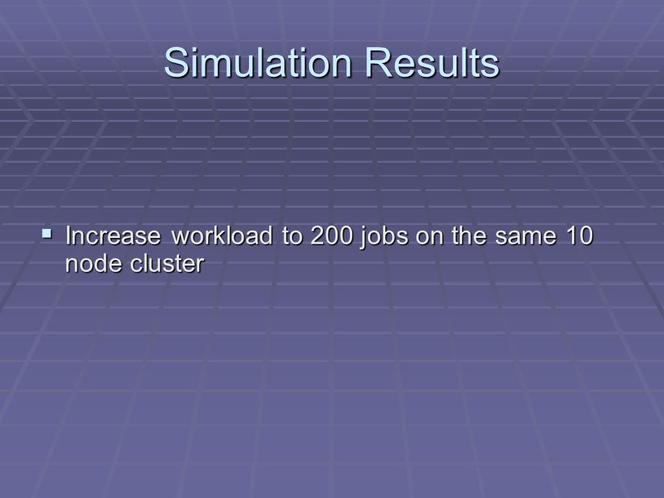 Simulation Results Increase workload to 200 jobs on the same 10 node cluster Increase workload to 200 jobs on the same 10 node cluster