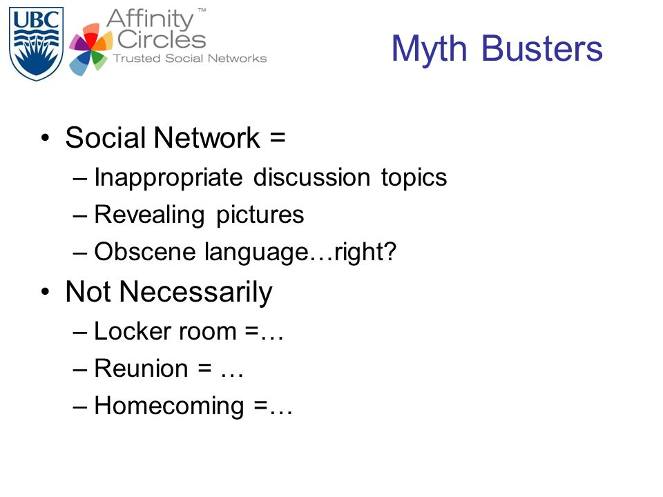 Myth Busters Social Network = –Inappropriate discussion topics –Revealing pictures –Obscene language…right.