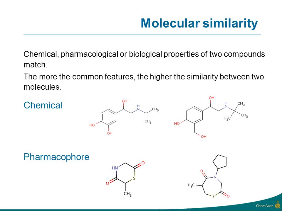 Chemical, pharmacological or biological properties of two compounds match.